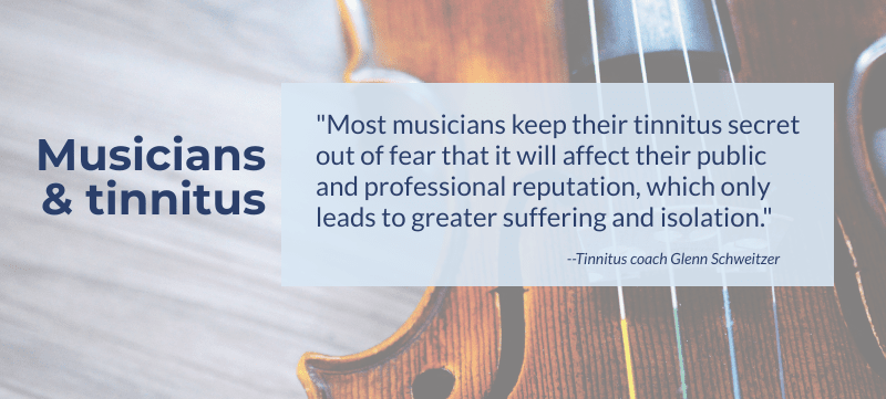 Infographic with a quote about musicians and tinnitus